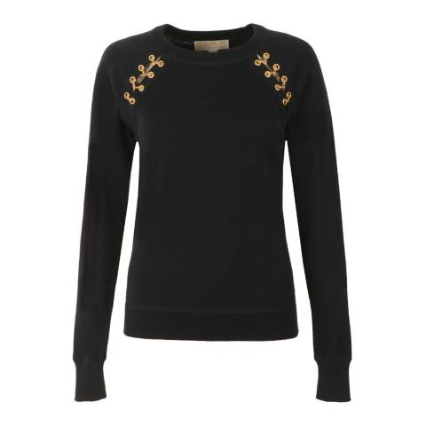 Michael Kors Navy Grommet Lace Sweater