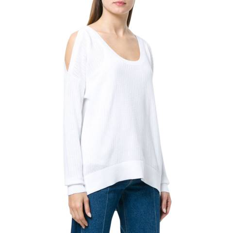 Michael Kors White Textured Cold-Shoulder Sweater