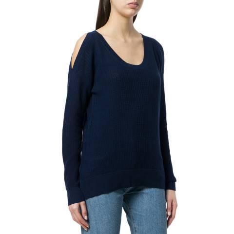 Michael Kors Navy Textured Cold-Shoulder Sweater