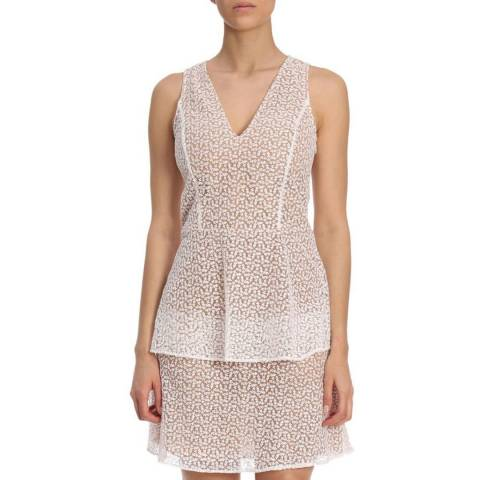 Michael Kors Nude and White Lace Tier Dress