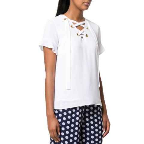 Michael Kors White Grommet Lace Top
