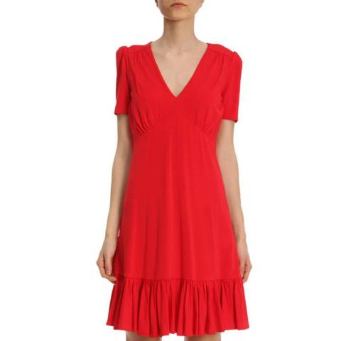 Michael Kors Red V-Neck Dress