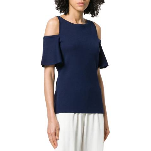 Michael Kors Navy and White Striped Cold-Shoulder T-Shirt