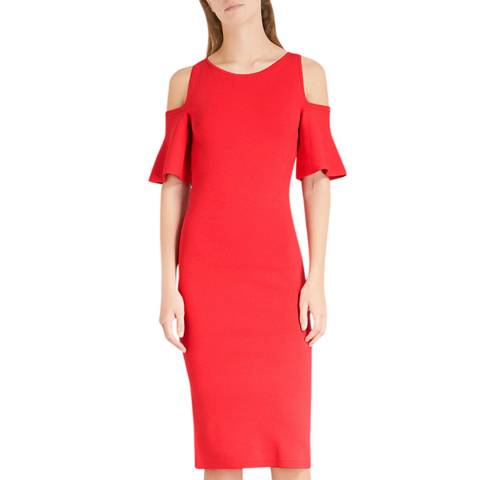 Michael Kors Red Cold-Shoulder Dress