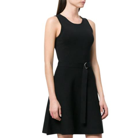 Michael Kors Black Belted Fit-and-Flare Mini Dress