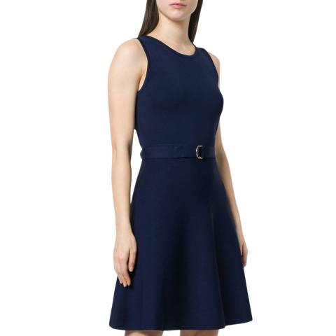 Michael Kors Navy Belted Fit-and-Flare Mini Dress