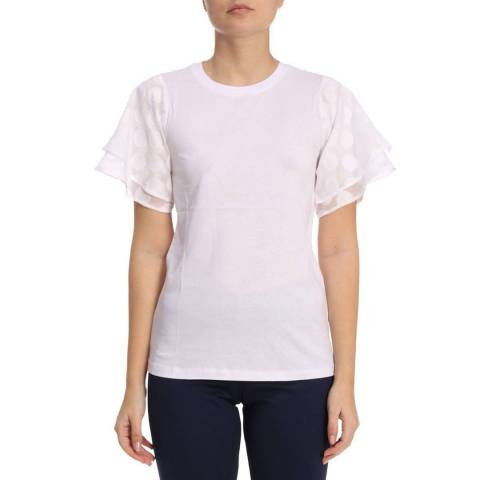 Michael Kors White Polka Dot Sleeve T-Shirt