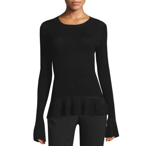 Michael Kors Black Stich Textured Top