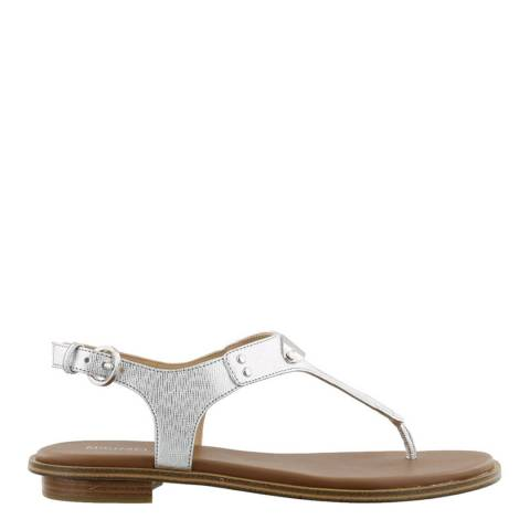 Michael Kors Silver MK Plate Thong Sandals