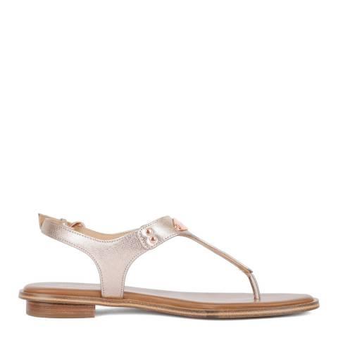 Michael Kors Rose Gold MK Plate Thong Sandals