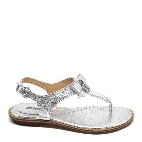 Michael Kors Silver Metallic Leather Alice Sandals