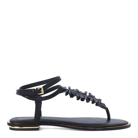 Michael Kors Black Leather Bella Ruffle Sandals