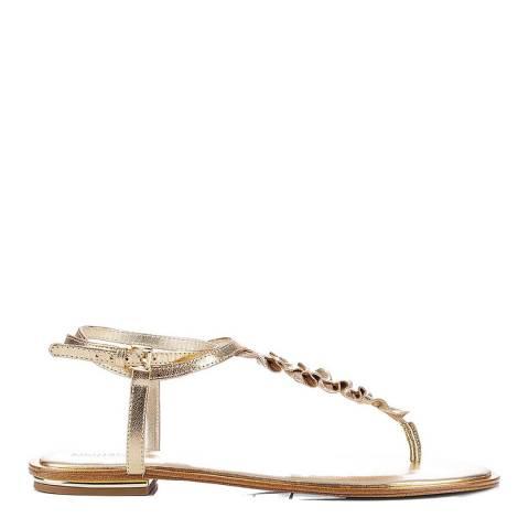 Michael Kors Gold Metallic Leather Bella Ruffle Sandals