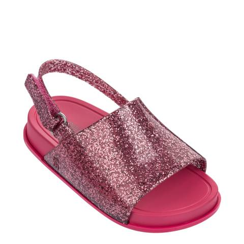 Mini Melissa Mini Beach Slide Sandal Pink Glitter D