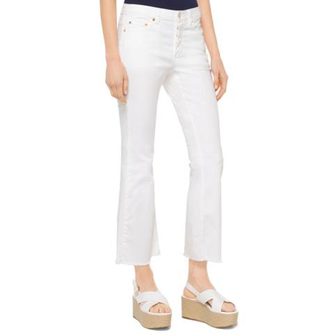 Michael Kors Cropped White Flared Jeans