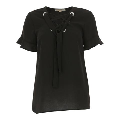 Michael Kors Black Grommet Lace Up Top