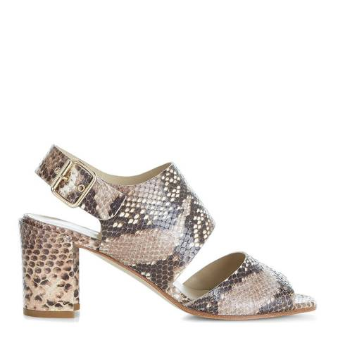 Hobbs London Nude Leather Snake Print Sandals