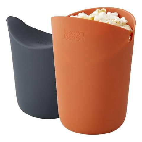 Joseph Joseph M-Cuisine Set of 2 Single-Serve Popcorn Makers, Orange/Grey