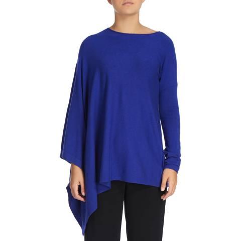 DKNY Blue Long Sleeve Asymmetric Poncho