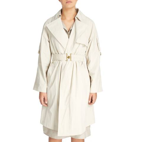 DKNY Cream Long Jacket With Belt