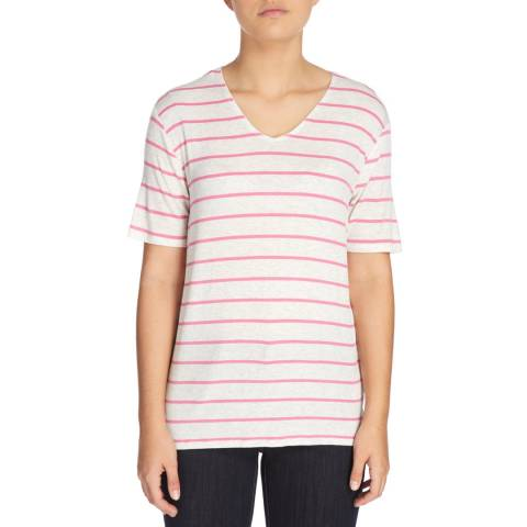 DKNY White and Pink Stripe Short Sleeve V Neck Top