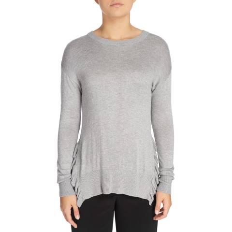 DKNY Light Grey Long Sleeved Ruffle Knit Top