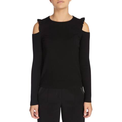 DKNY Black Long Sleeve Crew Neck With Cold Shoulder