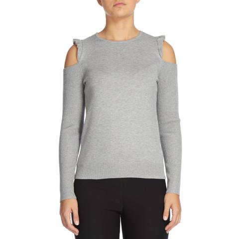 DKNY Light Grey Long Sleeve Crew Neck With Cold Shoulder