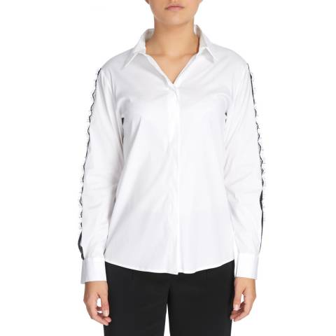 DKNY White Long Sleeve Button Through Top With Lace