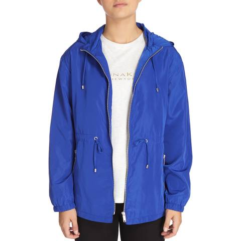 DKNY Blue Hooded Jacket With Drawstring Waist