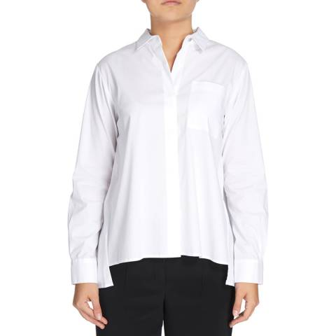 DKNY White Long Sleeve Button Through Top