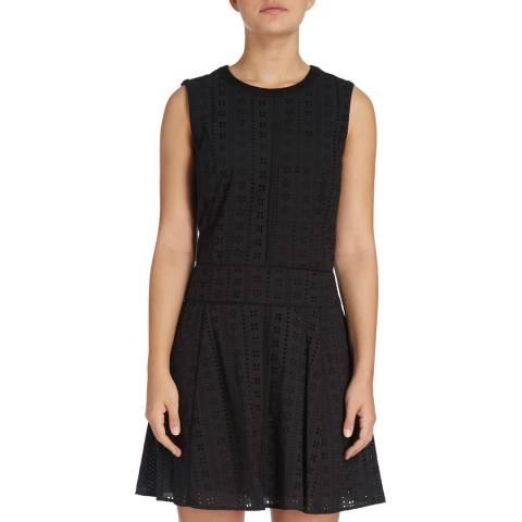 DKNY Black Sleeveless Crew Neck Flare Dress