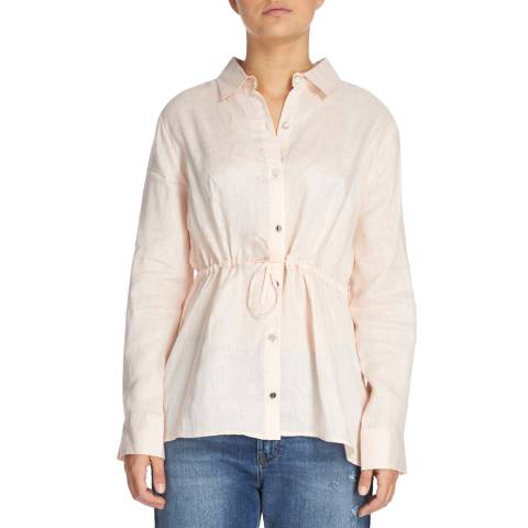 DKNY Pink Long Sleeve Button Through Top