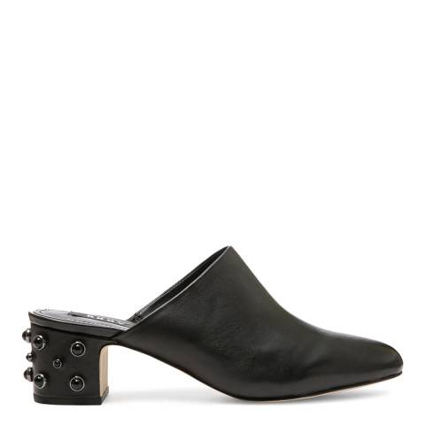 DKNY Black Leather Ginger Pearl Mules