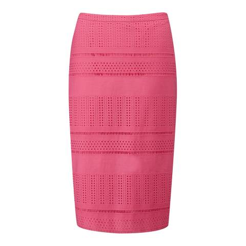 Pure Collection Candy Pink Textured Pencil Skirt