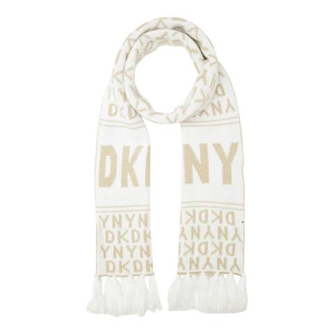 DKNY Cream/Cream Cross Walk Logo Scarf