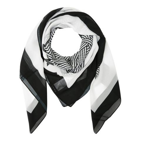 DKNY Black Cross Walk Logo Square Scarf