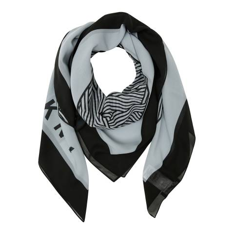 DKNY Grey Cross Walk Logo Square Scarf