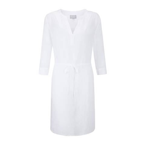 Pure Collection White Laundered Linen Drawstring Dress