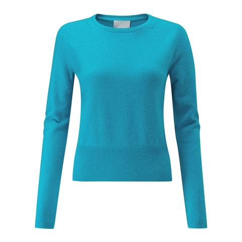 Pure Collection Soft Turquoise Cashmere Cropped Sweater