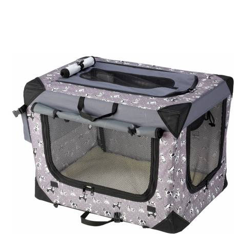 House Of Paws Black Large Polka Dot Travel Crate 28x20x20inch