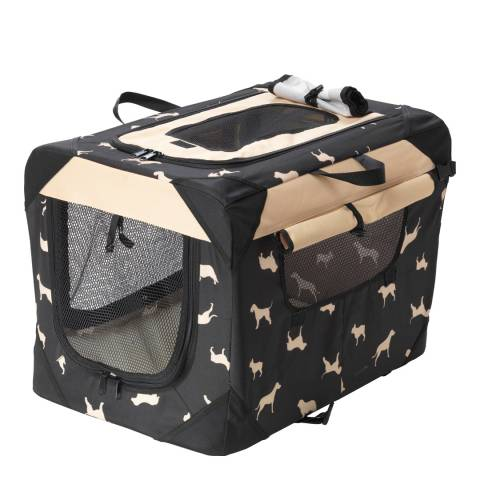 House Of Paws Black/Cream Large Pet Crate Carrier 70x52x52cm