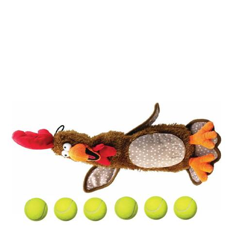 House Of Paws Brown Large Chicken Stuffing 6 Tennis Ball Toy