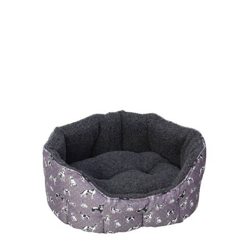 House Of Paws Grey Large Polka Dogs Oval Snuggle Bed 45x40cm