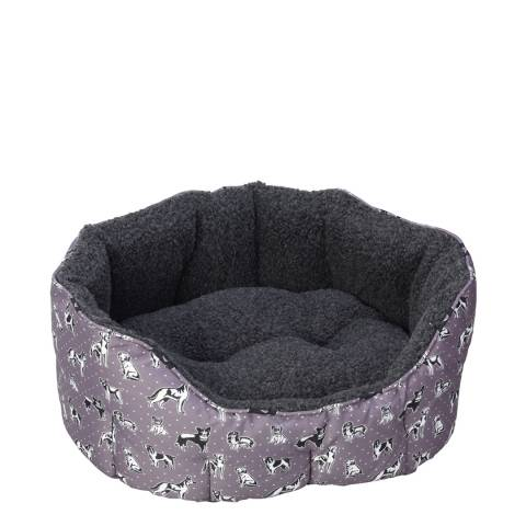 House Of Paws Grey Large Polka Dogs Oval Snuggle Bed 55x50cm