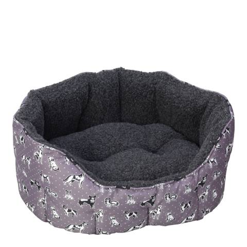 House Of Paws Grey Large Polka Dogs Oval Snuggle Bed 60x60cm