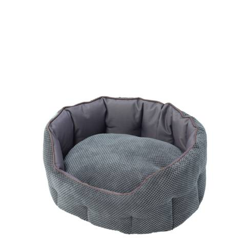 House Of Paws Grey Small Cord & Water Resistant Oval Bed 55x50x22cm