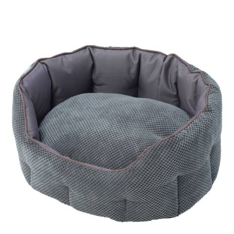 House Of Paws Grey Large Cord & Water Resistant Oval Bed 75x67x25cm