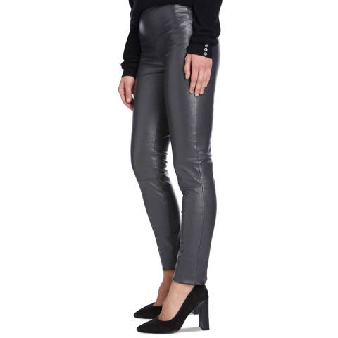 Max and Zac London Grey Stretch Leather Leggings