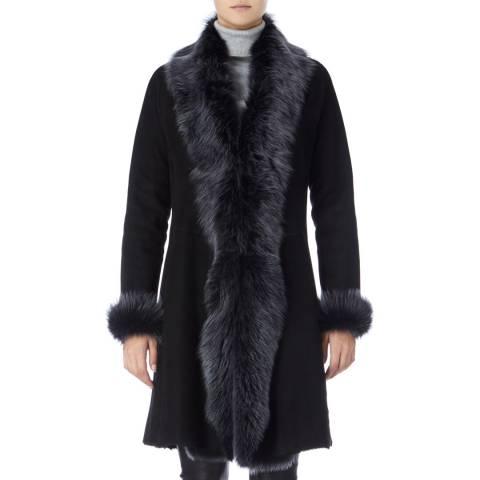 Max and Zac London Black Classic 3/4 Length Shearling Coat